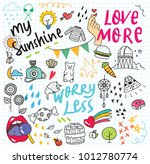 cute doodle collage background | Shutterstock . vector #1012780774