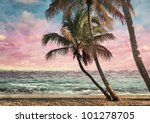 grunge image of tropical beach... | Shutterstock . vector #101278705