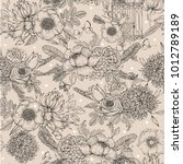 seamless inked floral pattern.... | Shutterstock .eps vector #1012789189