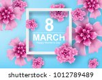 paper art and craft of 8 march... | Shutterstock .eps vector #1012789489