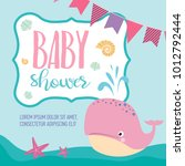 baby shower card with cartoon... | Shutterstock .eps vector #1012792444