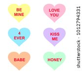 candy hearts with romantic... | Shutterstock .eps vector #1012794331