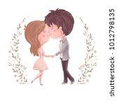 cute couple kiss. man and women ... | Shutterstock .eps vector #1012798135