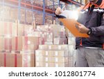 professional warehouse worker... | Shutterstock . vector #1012801774