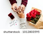 marriage proposal engagement | Shutterstock . vector #1012803595