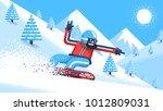 bearded snowboarder in bright... | Shutterstock .eps vector #1012809031