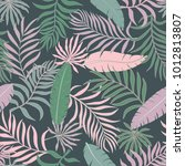 tropical background with palm... | Shutterstock .eps vector #1012813807