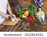 detox program. vegetable salad. ... | Shutterstock . vector #1012816531