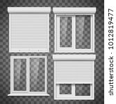 set of pvc windows and metal... | Shutterstock .eps vector #1012819477