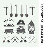 set of retro mining or... | Shutterstock .eps vector #1012820284