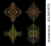 geometric aztec pattern. tribal ... | Shutterstock .eps vector #1012825975