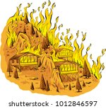 a cartoon of a blazing forest... | Shutterstock .eps vector #1012846597