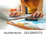 businessman hand working with... | Shutterstock . vector #1012849375