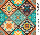 seamless colorful patchwork...   Shutterstock .eps vector #1012864765