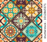 seamless colorful patchwork...   Shutterstock .eps vector #1012865371