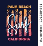 surf and palm beach 80's style... | Shutterstock .eps vector #1012884991