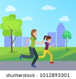 mother and daughter jogging... | Shutterstock .eps vector #1012893301