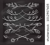 hand drawn floral elements set... | Shutterstock .eps vector #1012907605