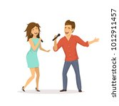 cute funny couple emotionally... | Shutterstock .eps vector #1012911457