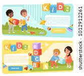 two banners with preschool kids ... | Shutterstock .eps vector #1012912261