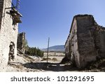 Ruins of Esco in Spain - stock photo