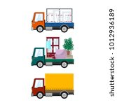 set of small cargo trucks  car