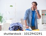 young man husband doing... | Shutterstock . vector #1012942291