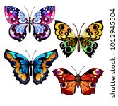Stock vector set of different multicolored butterflies collection of fantasy colorful vector butterflies for 1012945504