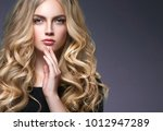 beautiful female with long... | Shutterstock . vector #1012947289