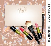 cosmetic brushes and lipstick | Shutterstock .eps vector #1012950355