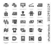 printing house flat glyph icons.... | Shutterstock .eps vector #1012951129