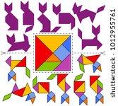vector tangram puzzle cats...   Shutterstock .eps vector #1012955761