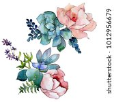 bouquet flower in a watercolor... | Shutterstock . vector #1012956679