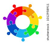 puzzle circle jigsaw game... | Shutterstock .eps vector #1012958911