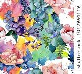 bouquet flower patterm in a... | Shutterstock . vector #1012964119