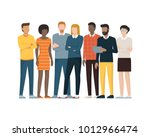 multiethnic group of people... | Shutterstock .eps vector #1012966474