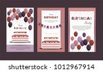 set happy birthday cards... | Shutterstock .eps vector #1012967914