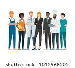 different professional workers... | Shutterstock .eps vector #1012968505