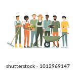 multiethnic team of farmers... | Shutterstock .eps vector #1012969147