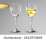 transparency wine glass. empty... | Shutterstock .eps vector #1012972849