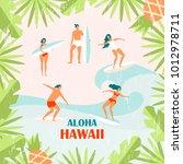 summer vector poster. people on ... | Shutterstock .eps vector #1012978711