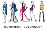 stylish fashion models. pretty... | Shutterstock .eps vector #1012980097