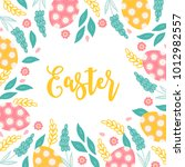 easter greeting card with... | Shutterstock .eps vector #1012982557