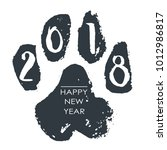 black hand drawn isolated dog... | Shutterstock .eps vector #1012986817