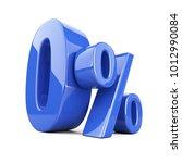 glossy blue zero percent or 0   ... | Shutterstock . vector #1012990084