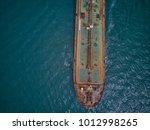aerial top view tanker ship