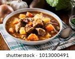 Irish stew made with beef, potatoes, carrots and herbs. Traditional  St patrick
