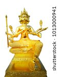 Small photo of Golden statue of Brahma isolated on white background, clipping path.