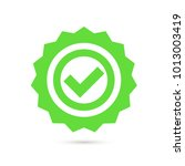 green stamp with tick icon in... | Shutterstock .eps vector #1013003419
