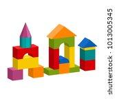 bright colorful wooden blocks... | Shutterstock . vector #1013005345